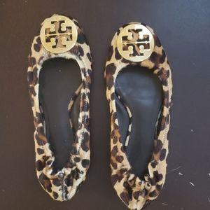 Tory Burch Reva Flats Calf Hair Leopardprint shoes